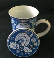 Vera Bradley Blue Lagoon Coffee Tea Cup Mug With Lid Coaster Porcelain