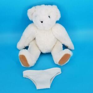 """Authentic Vermont Teddy Bear Company White Plush Jointed Blue Eyes USA 16"""""""