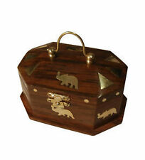 Wooden Sheesham Wood Mini Jewellery Box with Embossed Elephant Gift Item 25% off