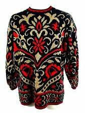 Ugly Christmas Sweater Women Small Vintage Metallic Gold Red Black Floral USA