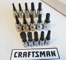 Craftsman 15 pc Sae Standard +Metric MM 1/4+3/8 Inch Drive Hex Bit Socket Set