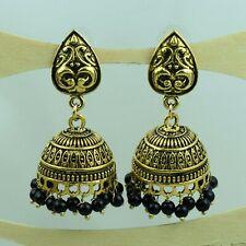 Black Beads Ethnic Jewelry Vfj839 Indian Fashion Golden Jhumki Earring
