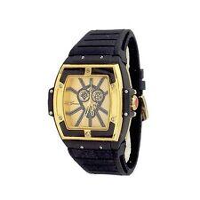 Gold Black Mens Watch Geneva Metal Oversized Boyfriend Designer Fashion Rubber