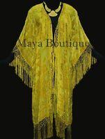 Buttercup Yellow Jacket Kimono Duster Silk Burnout Velvet Maya Matazaro Plus