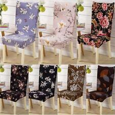 Removable Stretch Elastic Floral Slipcovers Dining Room Stool Chair Seat Covers