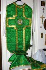 Green Chasuble Fiddleback Vestment Set Includes Veil,Burse,Maniple,Stole NEW