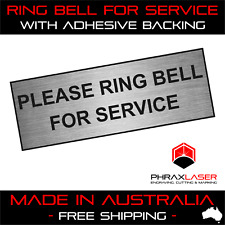 PLEASE RING BELL FOR SERVICE - SILVER SIGN - LABEL - PLAQUE w/Adhesive 8.5CMx3CM