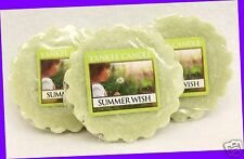3 Yankee Candle SUMMER WISH Green Wax Tarts Mini Candle apprx. 8 hrs ea