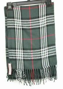 Pierre Cardin Rectangle Scarf Gray Plaid with Tassels One Size