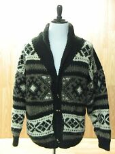 Early Winters 100% Wool Cardigan Toggle Sweater, Brown / Black / White, Men's L