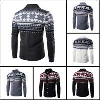 Mens Turtle Neck Winter Jacket Knitwear Knit Sweater Cardigan Coat Casual Warm