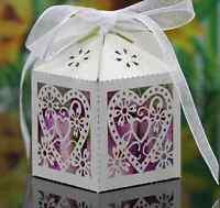 100 pz Scatole Bomboniere Bianche Porta Confetti Matrimonio Segnaposto Battesimo