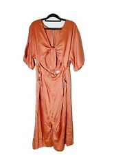 SHEIKE Size 16 Rust Pink Silky Full Length Jumpsuit Wide Leg Culotte Cut Out Tie