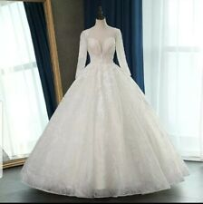 White/Ivory Long Sleeve Sequins Lace A Line Floor Length Wedding Dress Size 6-22
