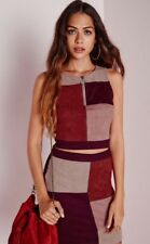 Missguided Suede Top Size 12 Patchwork Zip Front Back Crop Indie Festival Vest