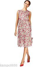 New M&S Cream & Pink Floral Chiffon Drawstring Waist Dress Sz UK 16