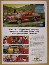 1977 Ford LTD Station Wagon towing Airstream Trailer photo vintage print Ad
