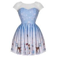 Hell Bunny Nevara Noelle Blue Christmas Party 1950s Vintage Retro Mini Dress
