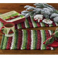 Wintergreen Chindi Placemats - Red, Green, White (Set of 4)