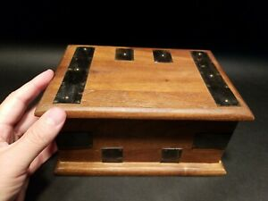 Antique Vintage Style Wood Document Box w Inner Compartment