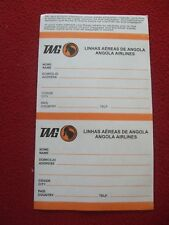 AIRLINE BAGGAGE STICKERS X 2 TAAG ANGOLA AIRLINES 1980'S / 90'S VINTAGE