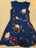 Oasis blue floral tea dress size 10 wedding