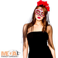 Day of the Dead Mask & Veil Fancy Dress Halloween Skeleton Bride Ladies Costume