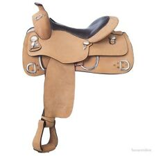 15.5 Inch Western Training Saddle - Roughout Leather - Royal King - Smooth Seat