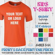 Childrens Printed T Shirt Custom Personalised Kids Birthday Sports Tee Top Text