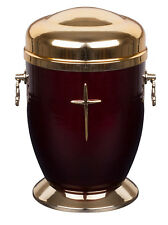 Beautiful Red Metal Cremation  Urn for Ashes  with Cross Memorial urn for Adult