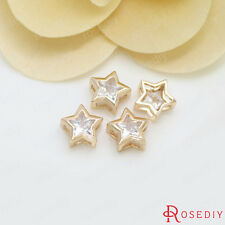 (30692)4PCS 9MM 24K Gold Plated Brass with Zircon Star Spacer Bracelet Beads