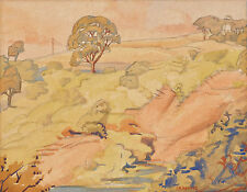 EVELINE SYME (1888-1961) RARE Original watercolour Ravine Melbourne 1925 Modern