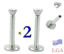 LABRET MONROE 316L GEM INT THREAD X2 14g 8MM FREE POSTAGE body bar lip A