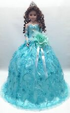 NEW Aqua Blue 28 inch Mis 15 XV Anos Quinceanera Porcelain Umbrella Muñeca Doll