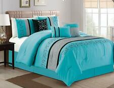 Oversize Luxury Embroidery Microfiber Comforter Set, King, Turqoise, 7 Piece