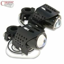 Universal Black Motorcycle Fog Auxiliary Lights Round Pair Cafe Racer Style
