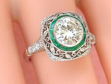 ESTATE ART DECO 1.24ct BRILLIANT DIAMOND EMERALD HALO ENGAGEMENT COCKTAIL RING