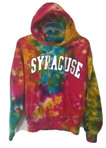 Syracuse Tie Dye Hooded Sweatshirt Red Blue Yellow Size Small