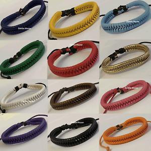Men Women Leather &Cord Bracelet FISHTAIL Design Hemp Surfer Wristband Bracelets