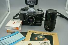 Canon AE-1 Program 35mm SLR Camera w/ 50mm ,135mm Lens,  Power Winder, Flash +++