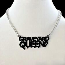 "GRAVEYARD QUEEN NECKLACE 3"" Black Acrylic Pendant Vampire Halloween Costume Goth"