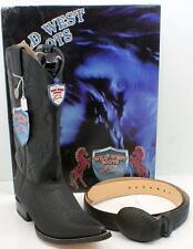 Wild West Shark Leather Men's Western Cowboy Black Boots W/Belt Handcrafted 9 EE