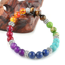 Fashion 7 Chakra Mixed GEMSTONE Healing Chakra Pray Mala Bracelet Jewelry 8mm