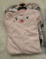 Carter's Baby Girls 2 Pack Footed Fleece Blanket Sleepers Size 6 Mo Pajamas