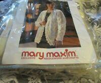 NEW Women's Lacy Cardigan Sweater Knitting Kit and Mellowspun Arun White Yarn