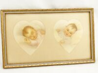 VINTAGE GOLD FRAME BLUE TRIM WITH BABY PICTURES IN HEARTS 13 x 8 NURSERY PRINT
