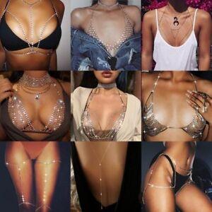 Women Shiny Crystal Rhinestone Bra Chest Body Chains Bikini Fashion Jewelry