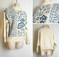 BHS Vintage 80's 90's Cream Blue Cable Knit High Neck Wool Ladies Jumper size 10