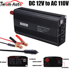 1000W 2000W Car Power Inverter Dc 12V To Ac 110V 2 Ac Outlets Usb Charging ports