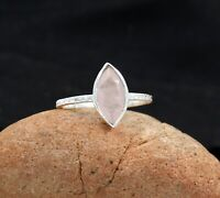 Marquise Natural Rose Quartz 925 Sterling Silver Size 8.5 Wedding Ring KR1740